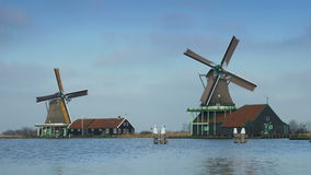 Wooden windmills in Holland 4K stock footage