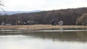 Wooden Windmills stock video footage
