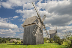 The wooden windmills Royalty Free Stock Photos