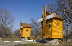 Wooden windmills Royalty Free Stock Photo