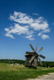 Wooden windmills in the village Royalty Free Stock Photos