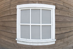 Wooden window. White wooden window shot by fish-eye lens Stock Image