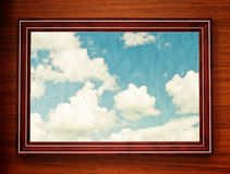 Wooden window with blue sky Stock Images