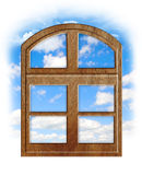 Wooden window with blue sky Royalty Free Stock Photo