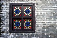 Wooden window brick wall stock photo