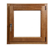Wooden window closed. On a white background royalty free stock image