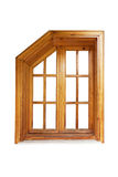 Wooden window with cut corner and casing Stock Image
