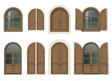 Wooden window and doors with shutters. Vintage wooden window and door with shutters. Mediterranean style. Traditional architecture. Vector graphics. Item set royalty free illustration