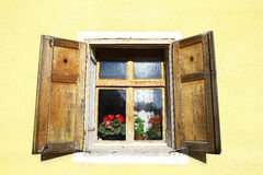 Wooden window with flowers Stock Images