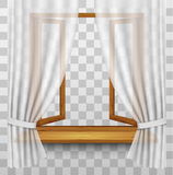 Wooden window frame with curtains on a transparent background. Vector Royalty Free Stock Photos