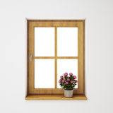 Wooden window frame with flowerpot on the white wall, background Royalty Free Stock Images