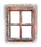 Wooden window frame isolated on white. Royalty Free Stock Photos