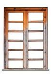 Wooden window frame isolated on white background Stock Image