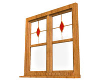 Wooden window frame with stained glass Royalty Free Stock Images