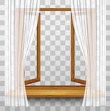 Wooden Window Frame With Curtains On A Transparent Background. Royalty Free Stock Images
