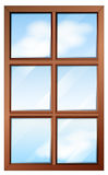 A wooden window with glasspanes Royalty Free Stock Photography