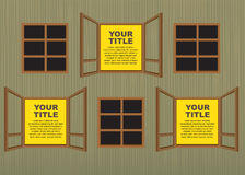Wooden window layout designs. Royalty Free Stock Photo