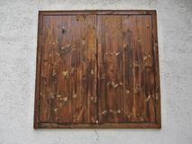 Wooden window made of wooden planks Royalty Free Stock Photo