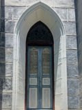 Wooden window of  Nativity of Our Lady Cathedral church Stock Photo