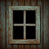 Wooden window of an old abandoned building Stock Photos