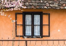Wooden window on the old house. With orange wall Stock Image