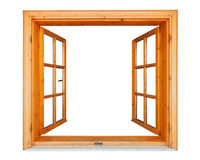 Wooden window open with marble ledge. Wooden window opened with marble ledge isolated on white background royalty free stock photo