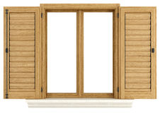 Wooden window with open shutter Royalty Free Stock Photos
