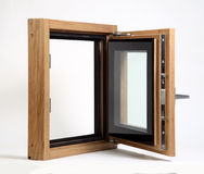 Wooden window open. On a white background stock images
