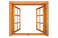 Wooden Window Opened Stock Photo