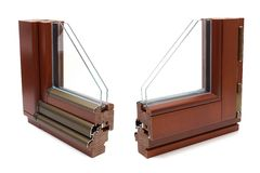 Wooden window profiles Royalty Free Stock Photography
