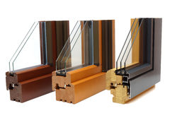 Wooden window profiles Stock Photo