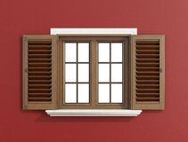 Wooden window on red wall Royalty Free Stock Photos