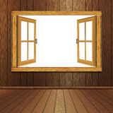 Wooden Window in Room. Grunge room interior and wooden window illustration Royalty Free Stock Image
