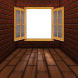 Wooden Window in Room. Grunge room interior and wooden window illustration Stock Photos