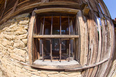 Wooden window in rural Bulgarian architecture Royalty Free Stock Photos
