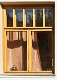 Wooden window with samovar Royalty Free Stock Images