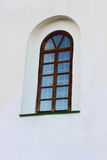 Wooden window. Seen on the white wall wooden window Stock Photo