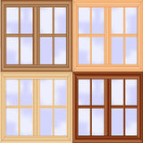 Wooden window set Royalty Free Stock Photos