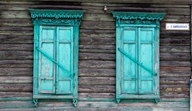 Wooden window. Wooden window with shutter doors Stock Photos