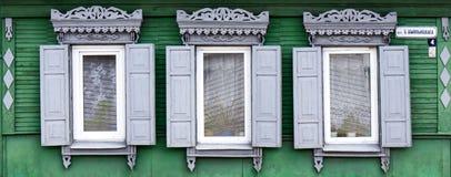 Wooden window with shutter doors. Stock Photo