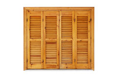 Wooden window with shutters closed. Exterior side isolated on white background Royalty Free Stock Photography