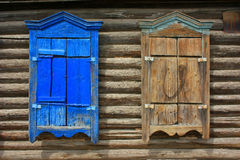 Wooden window shutters closed Royalty Free Stock Images