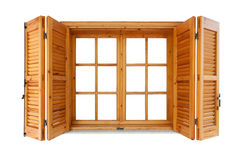 Wooden window with shutters Stock Photos