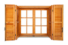 Wooden window with shutters isolated Royalty Free Stock Images