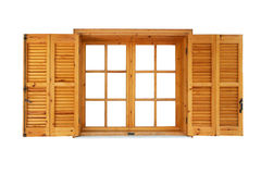 Wooden window with shutters opened. Exterior side isolated on white background Stock Photo