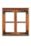 Wooden window with strap hinges Royalty Free Stock Photo