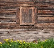 Wooden window and textured vintage wood wall Stock Images