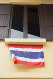 Wooden window with tinted glass decorating with thailand nationa Stock Photos