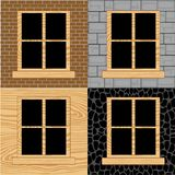 Wooden window in wall Stock Photo