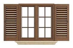 Wooden window on white Stock Photos